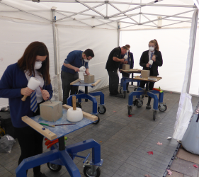 Stirling school pupils trying stone carving