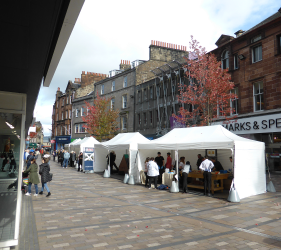 Traditional Building Skills stall in Stirling town centre